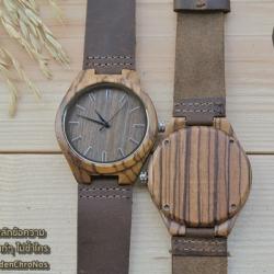Wooden ChroNos นาฬิกาข้อมือไม้ สลักข้อความได้ สายหนังนิ่ม WC107