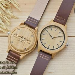 WoodenChroNos นาฬิกาข้อมือไม้ สลักข้อความได้ สายหนัง WC601