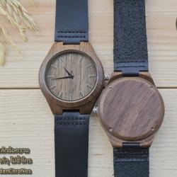 Wooden ChroNos นาฬิกาข้อมือไม้ สลักข้อความได้ สายหนังนิ่ม WC108