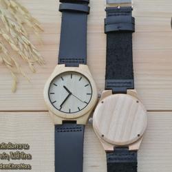 Wooden ChroNos นาฬิกาข้อมือไม้ สลักข้อความได้ สายหนังนิ่ม WC114