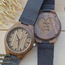 Wooden ChroNos นาฬิกาข้อมือไม้ สลักข้อความได้ สายหนังนิ่ม WC109