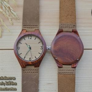 Wooden ChroNos นาฬิกาข้อมือไม้ สลักข้อความได้ สายหนังนิ่ม WC113