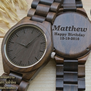 WoodenChroNos นาฬิกาข้อมือไม้ สลักข้อความได้ สายไม้ WC401