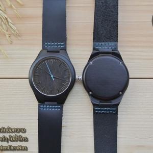 Wooden ChroNos นาฬิกาข้อมือไม้ สลักข้อความได้ สายหนังนิ่ม WC110