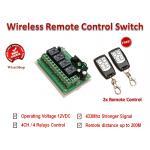 สวิตซ์รีโมทไร้สาย Wireless Remote Control Switch ควบคุมอุปกรณ์ไฟฟ้าได้ 4 ช่อง ความถี่ 315/433 Mhz ไฟเลี้ยง 12VDC แถมฟรี! รีโมทควบคุม 2 ตัว
