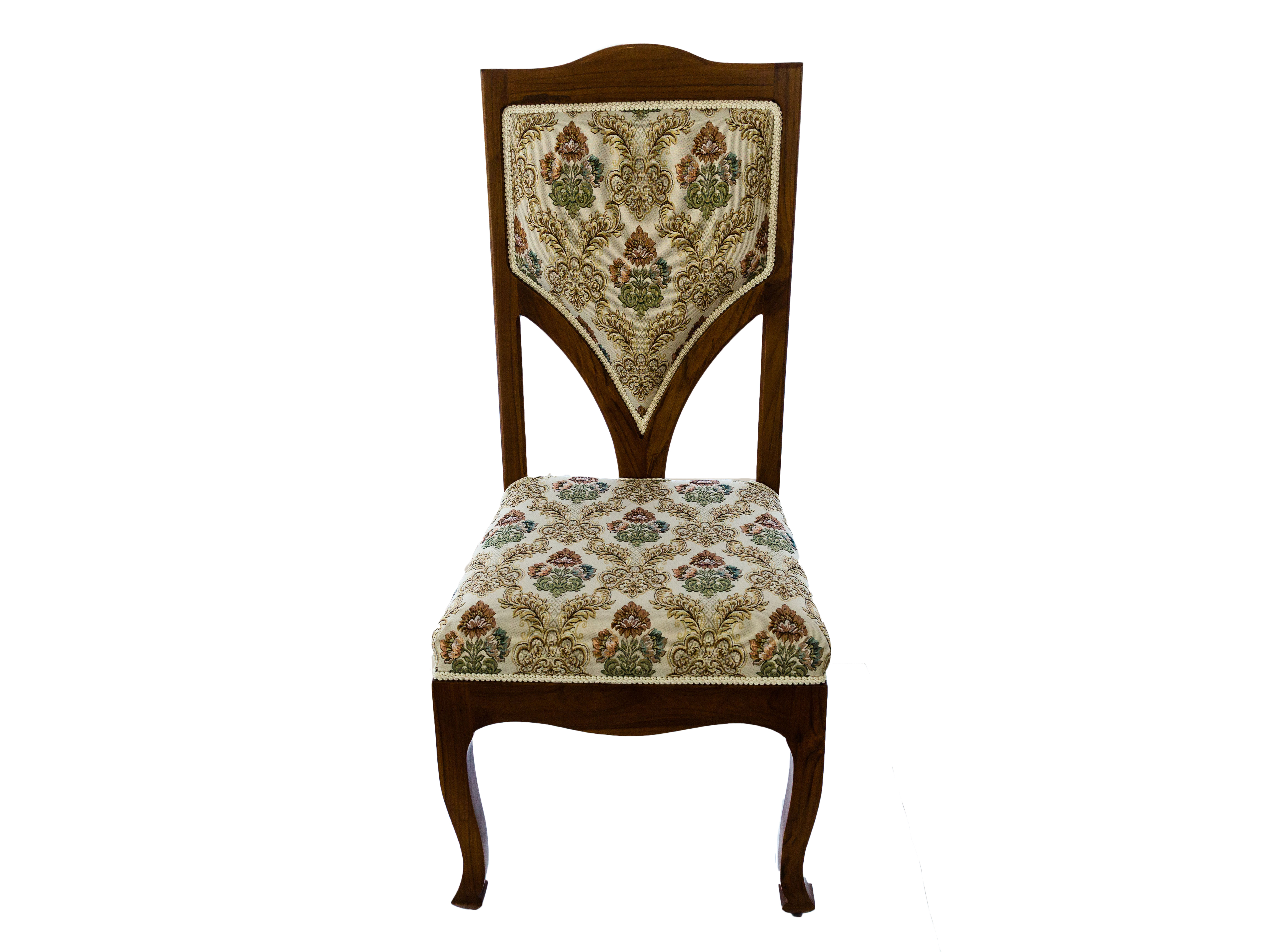 เก้าอี้ไม้สักหุ้มผ้าหลุยส์