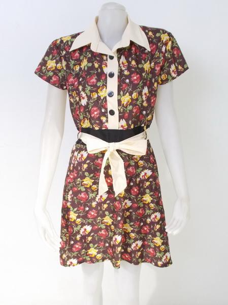 1002219 ขายส่งเสื้อผ้าแฟชั่นชุดเดรสกระโปรงลายดอกไม้ ผ้าเนื้อดีมากค่ะ รอบอก 38 นิ้วยาว 37 นิ้ว