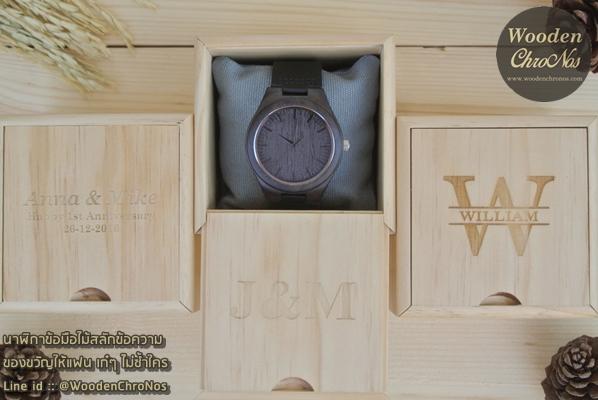 WoodenChroNos นาฬิกาข้อมือไม้สลักข้อความ นาฬิกาผู้ชายสายหนัง WC101-5