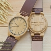 Wooden ChroNos นาฬิกาข้อมือไม้ สลักข้อความได้ สายหนัง WC301