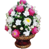 พานพุ่มดอกบัวชมพู - ขาว (ขนาดใหญ่) (พร้อมกรอบ)
