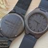 Wooden ChroNos นาฬิกาข้อมือไม้ สลักข้อความได้ สายหนังนิ่ม WC101