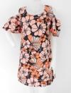 1305006 ขายส่งเสื้อผ้าแฟชั่น ชุดเดรสกระโปรง ลายดอกไม้สวยเว่อร์มาก แขนระบาย เปิดหัวไหล่ รอบอก ฟรีไซส์ 32-38 นิ้วใส่ได้ค่ะ ความยาว 34 นิ้ว