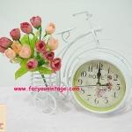 นาฬิกาตั้งโต๊ะวินเทจ2หน้า ลายจักรยาน มีตะกร้าใส่ของได้