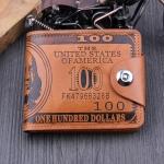 กระเป๋าสตางค์ผู้ชาย 100 DOLLAR [สีน้ำตาล] รหัส C004