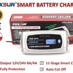 FOXSUR เครื่องชาร์จอัจฉริยะและฟื้นฟูแบตเตอรี่รถยนต์ Smart Battery Charger & Desulfator 12V/24V 8A/4A 30-200Ah/15-100Ah รุ่น FBC122408