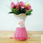 แจกันดอกไม้ หวายเทียม สีชมพู