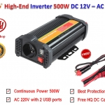 BYGD Hi-End อินเวอร์เตอร์ Inverter ขนาด 500W แปลงไฟแบตเตอรี่ DC 12V เป็น AC 220V มาพร้อมกับ 2 USB Ports DC 5V รุ่น P500U