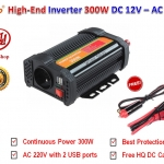 BYGD Hi-End อินเวอร์เตอร์ Inverter ขนาด 300W แปลงไฟแบตเตอรี่ DC 12V เป็น AC 220V มาพร้อมกับ 2 USB Ports DC 5V รุ่น P300U