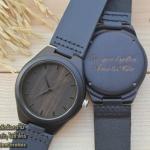 Wooden ChroNos นาฬิกาข้อมือไม้ สลักข้อความได้ สายหนังนิ่ม WC105 - ของขวัญครบรอบ 1 ปี