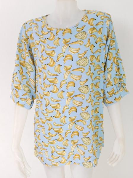954975 ขายส่งเสื้อผ้าแฟชั่นลายกล้วยสุดฮิต ผ้าเนื้อดีใส่สบายค่ะ รอบอก 40 นิ้วความยาวเสื้อ 29 นิ้ว