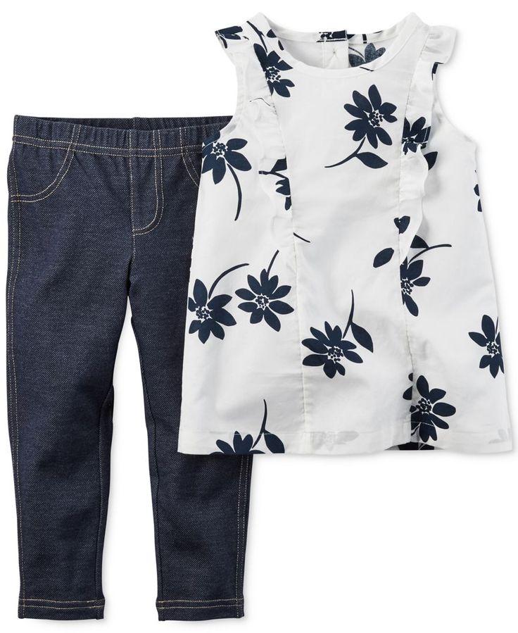 W088 : Set 2 ชิ้น เสื้อแขนระบายพิมพ์ลาย + กางเกงเลกกิ้งสีน้ำเงิน