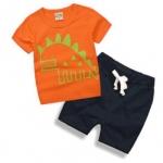 W042 : Set 2 ชิ้น เสื้อแขนสั้นสีส้มพิมพ์ลายไดโนเสาร์ + กางเกงขาสั้นสีกรมท่า (1,4,5,6)