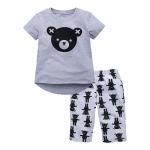 W044 : Set 2 ชิ้น เสื้อแขนสั้นสีเทาพิมพ์ลายหมี + กางเกงขายาวสีเทาลายหมี (4,6)