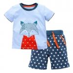 W043 : Set 2 ชิ้น เสื้อแขนสั้นสีฟ้าพิมพ์ลายสุนัขจิ้งจอก + กางเกงขาสั้นสีเขียวลายดาว (2)