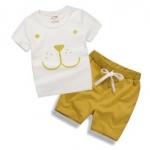 W041 : Set 2 ชิ้น เสื้อแขนสั้นสีขาวพิมพ์ลายหมี + กางเกงขาสั้นสีเหลือง(1,2,5)