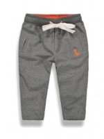 W046 : กางเกงขายาวสีเทาปักลายไดโนเสาร์
